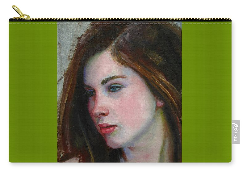 Figurative Carry-all Pouch featuring the painting Porcelain Skin by Sarah Parks