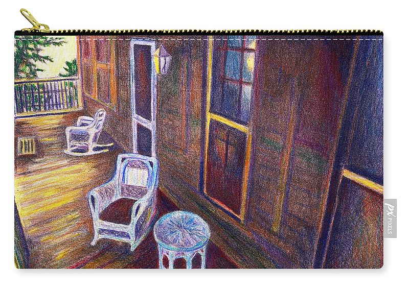 Kendall Kessler Carry-all Pouch featuring the drawing Porch In Golden Light by Kendall Kessler