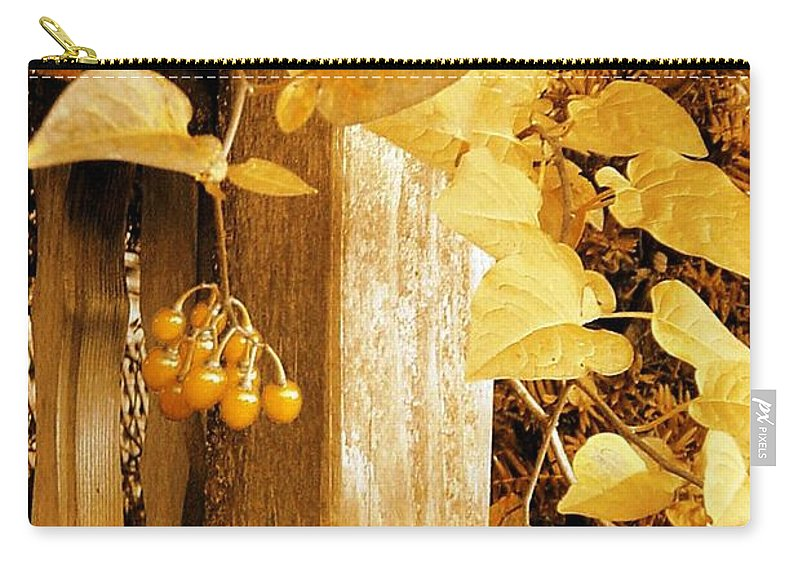 Porch Post Carry-all Pouch featuring the photograph Porch Post Berries Glow by Ellen Cannon