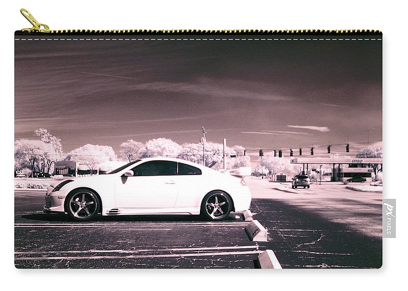 America Carry-all Pouch featuring the photograph Porsche Car Side Profile Pink Near Infrared by Sally Rockefeller