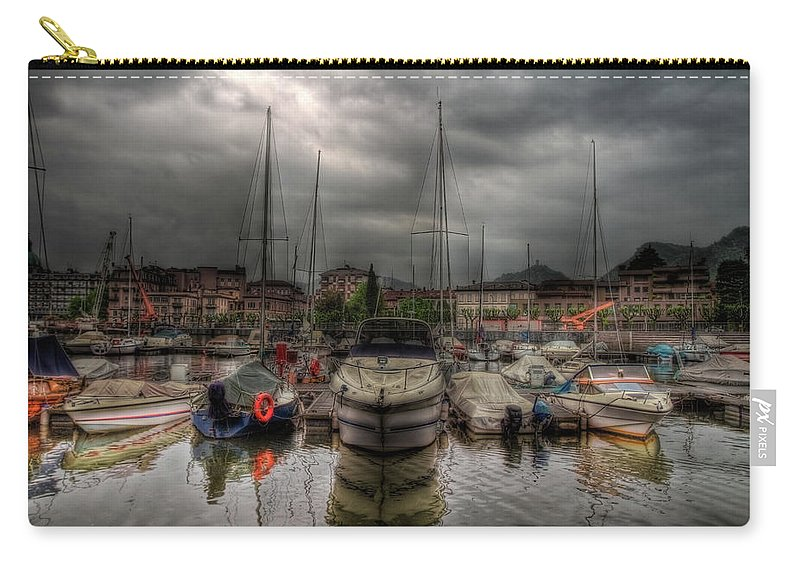 Boat Carry-all Pouch featuring the photograph Port At Como Lake by Roberto Pagani