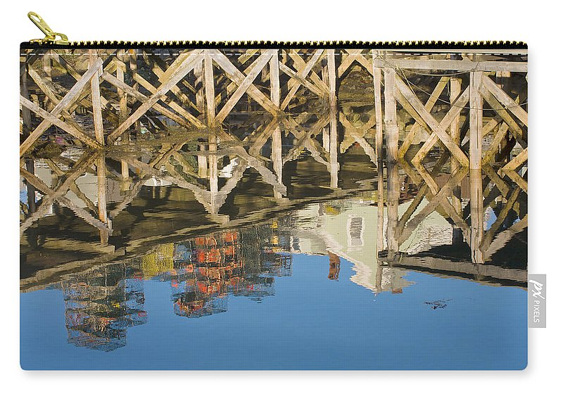 Maine Carry-all Pouch featuring the photograph Port Clyde Maine Lobster Traps Reflecting In Water by Keith Webber Jr