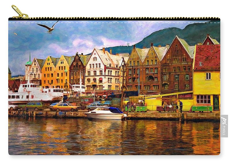 Alesund Carry-all Pouch featuring the photograph Port Life Watercolor by Steve Harrington