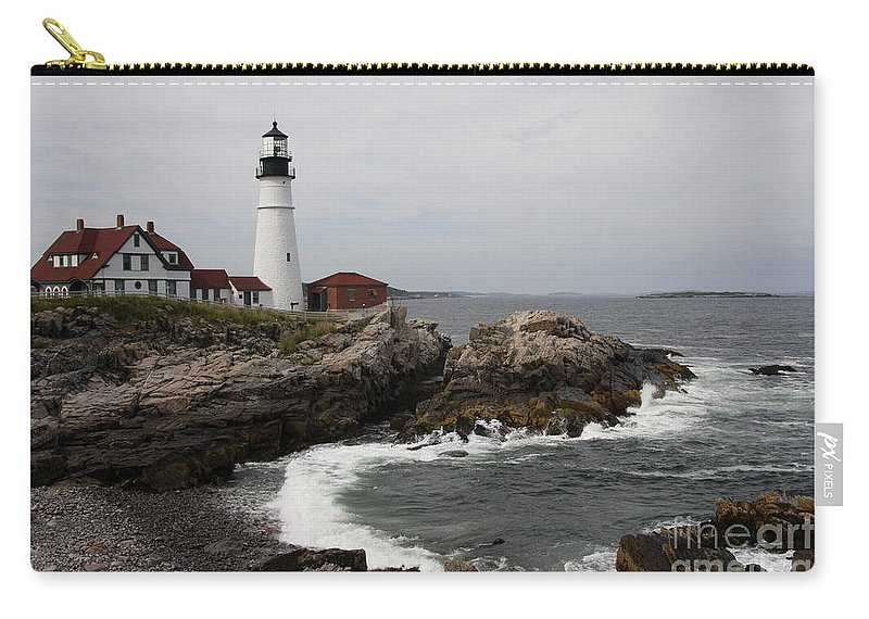 Portland Head Light Carry-all Pouch featuring the photograph Portland Head Light - M E by Christiane Schulze Art And Photography