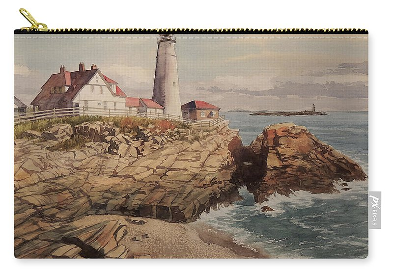 Landscapes Carry-all Pouch featuring the painting Portland Head Lighthouse by Jon Hunter