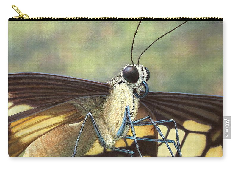 Butterfly Carry-all Pouch featuring the painting Portrait Of A Butterfly by James W Johnson