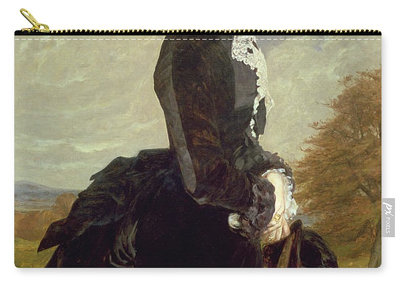 Female Carry-all Pouch featuring the painting Portrait Of A Lady In Black With A Dog by James Archer