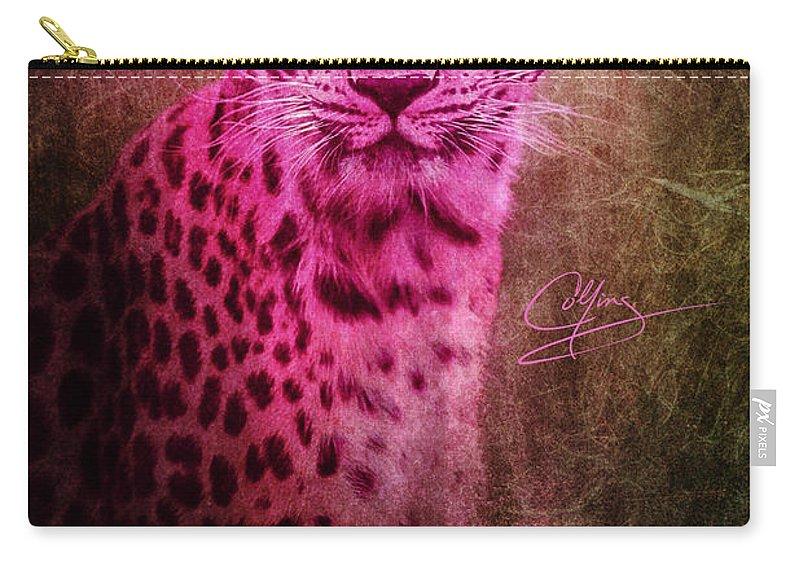 Leopard Carry-all Pouch featuring the photograph Portrait Of A Pink Leopard by Greg Collins