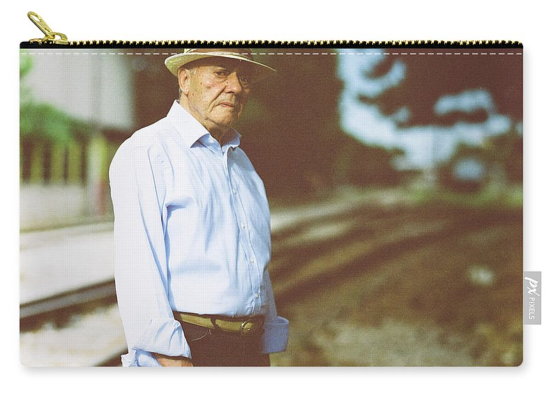 Three Quarter Length Carry-all Pouch featuring the photograph Portrait Of A Senior Man by Thanasis Zovoilis