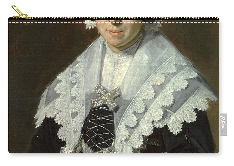 Frans Hals Carry-all Pouch featuring the painting Portrait Of A Woman With A Fan by Frans Hals