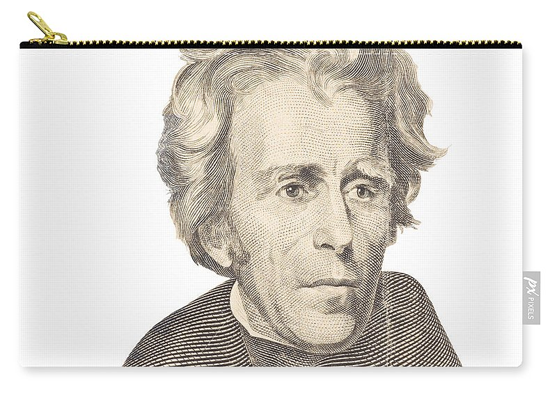 Andrew Jackson Carry-all Pouch featuring the photograph Portrait Of Andrew Jackson On White Background by Keith Webber Jr