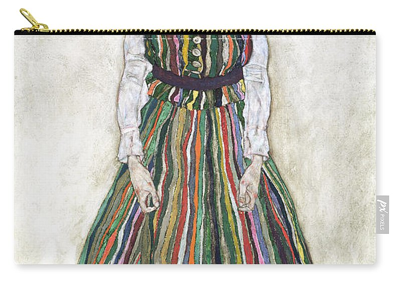 Female Carry-all Pouch featuring the painting Portrait Of Edith Schiele, The Artists by Egon Schiele