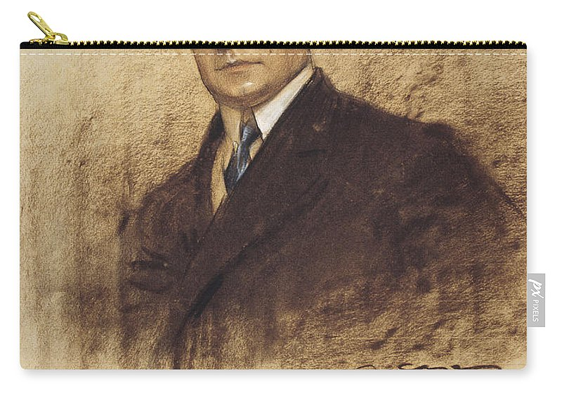 Ramon Casas Carry-all Pouch featuring the drawing Portrait Of Enric Borras by Ramon Casas