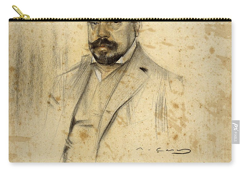 Ramon Casas Carry-all Pouch featuring the drawing Portrait Of Enric Serra by Ramon Casas