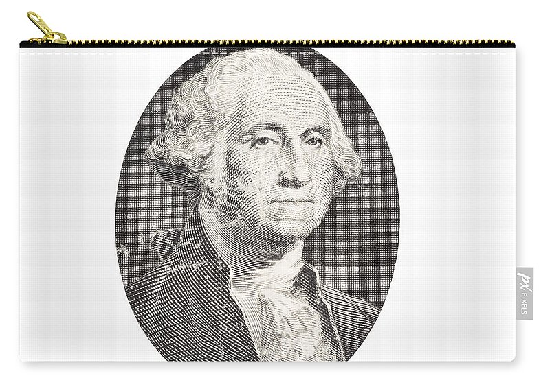 George Washington Carry-all Pouch featuring the photograph Portrait Of George Washington On White Background by Keith Webber Jr