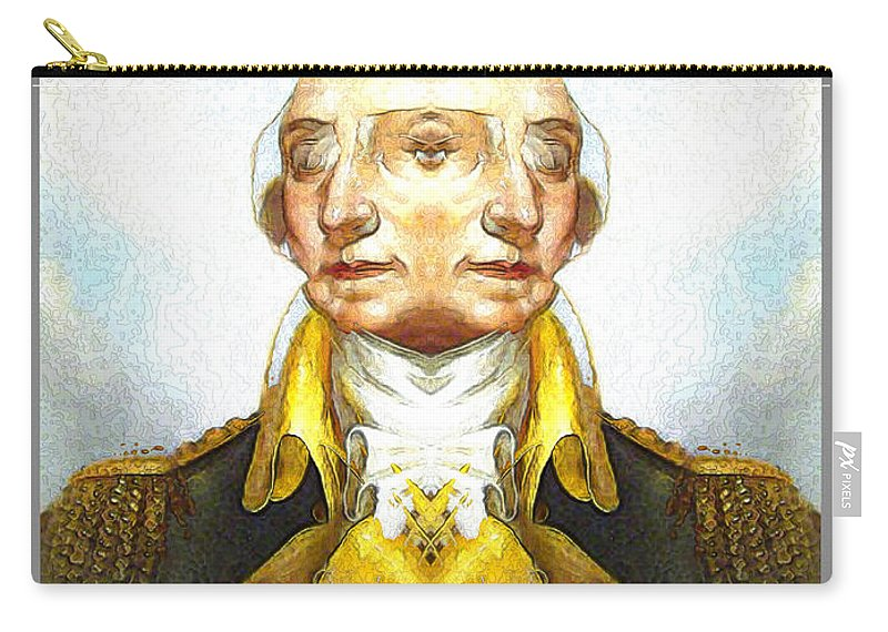 Carry-all Pouch featuring the digital art Portrait-of-george Washington Vert 2 by Zac AlleyWalker Lowing