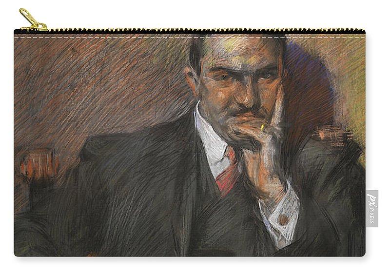 Boccioni Carry-all Pouch featuring the pastel Portrait Of Innocenzo Massimino by Umberto Boccioni