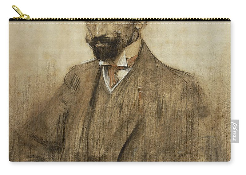 Ramon Casas Carry-all Pouch featuring the drawing Portrait Of Jacinto Benavente by Ramon Casas