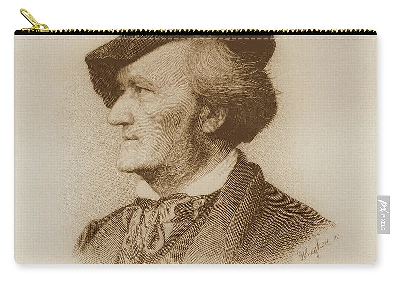 Male Carry-all Pouch featuring the drawing Portrait Of Richard Wagner German by German School