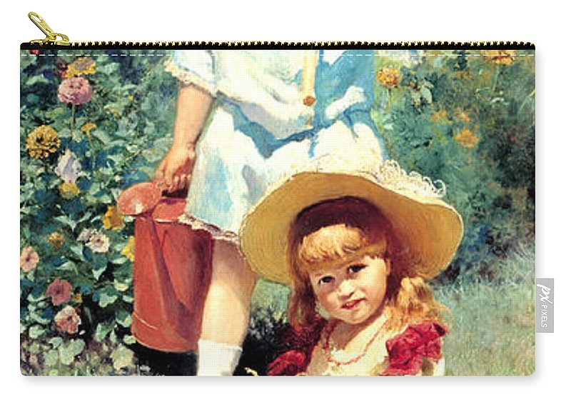 Konstantin Makovsky Carry-all Pouch featuring the digital art Portrait Of The Artists Children by Konstantin Makovsky