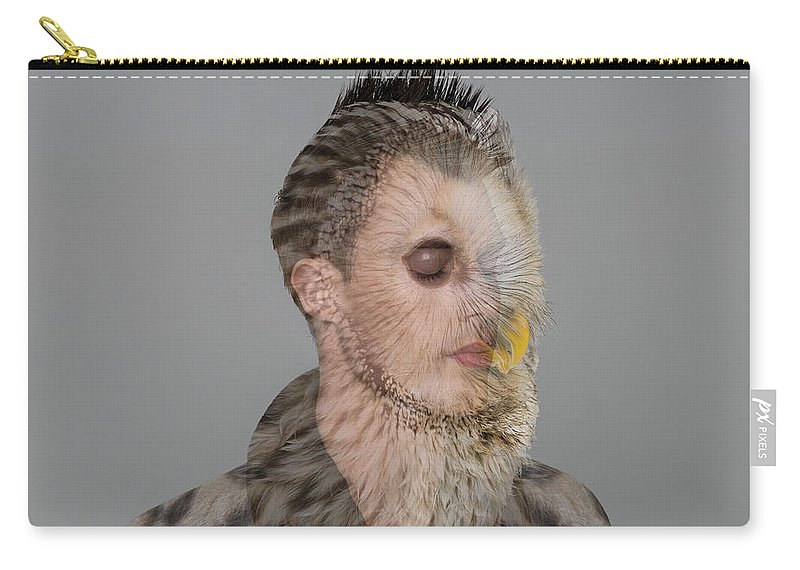People Carry-all Pouch featuring the photograph Portrait Of Young Man With Owl Overlay by Nisian Hughes