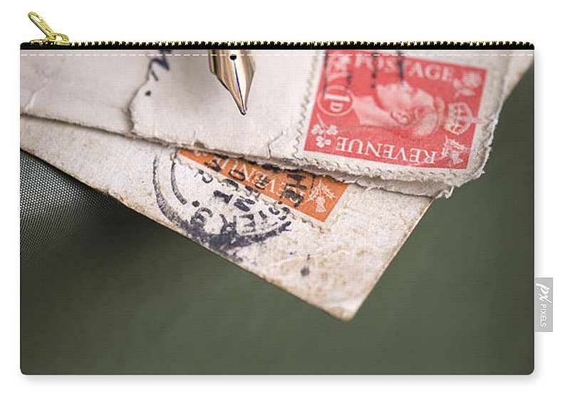 Correspondence Carry-all Pouch featuring the photograph Post Cards And Fountain Pen by Lee Avison