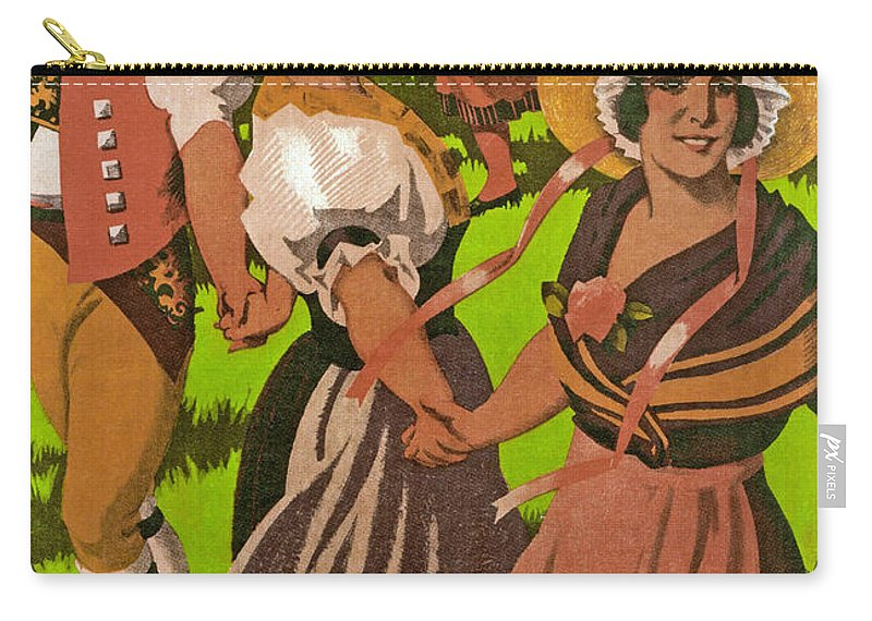 Poster Carry-all Pouch featuring the drawing Poster Advertising F?te Des Costumes by Jules Courvoisier
