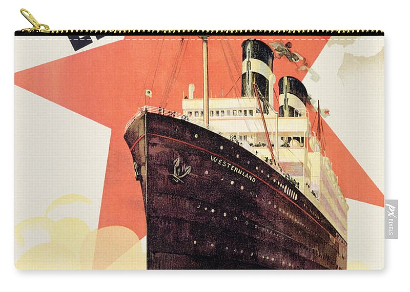 Maritime Carry-all Pouch featuring the painting Poster Advertising The Red Star Line by Belgian School