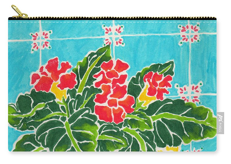Flowers Carry-all Pouch featuring the painting Potted Plant by Monique Montney