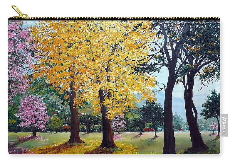 Tree Painting Landscape Painting Caribbean Painting Poui Tree Yellow Blossoms Trinidad Queens Park Savannah Port Of Spain Trinidad And Tobago Painting Savannah Tropical Painting Carry-all Pouch featuring the painting Poui Trees In The Savannah by Karin Dawn Kelshall- Best