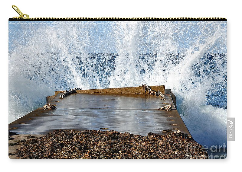 Photograph Carry-all Pouch featuring the photograph Power Of The Sea by Kaye Menner