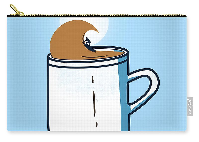 Coffee Carry-all Pouch featuring the digital art Powered By Coffee by Neelanjana Bandyopadhyay