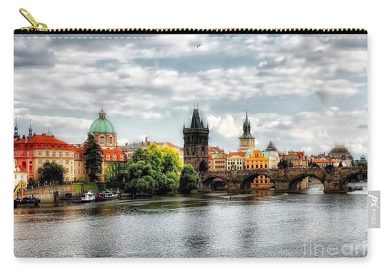 Prague Photos Carry-all Pouch featuring the photograph Prague Panorame by Justyna JBJart