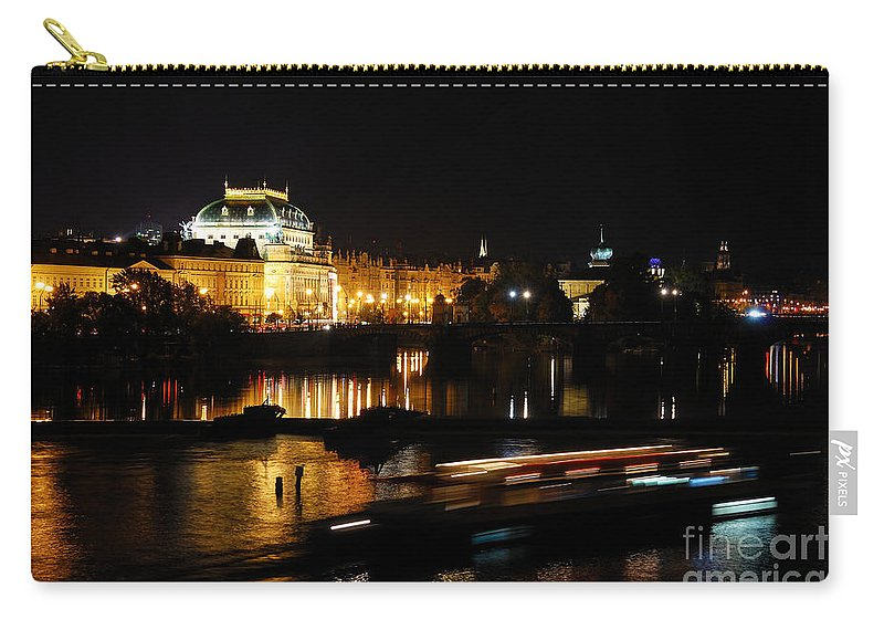 Prague Carry-all Pouch featuring the photograph Prague National Theater by Syed Aqueel