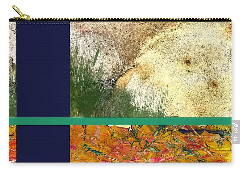 Interior Design Carry-all Pouch featuring the digital art Prairie Grasses Amid The Rocks by Paulette B Wright