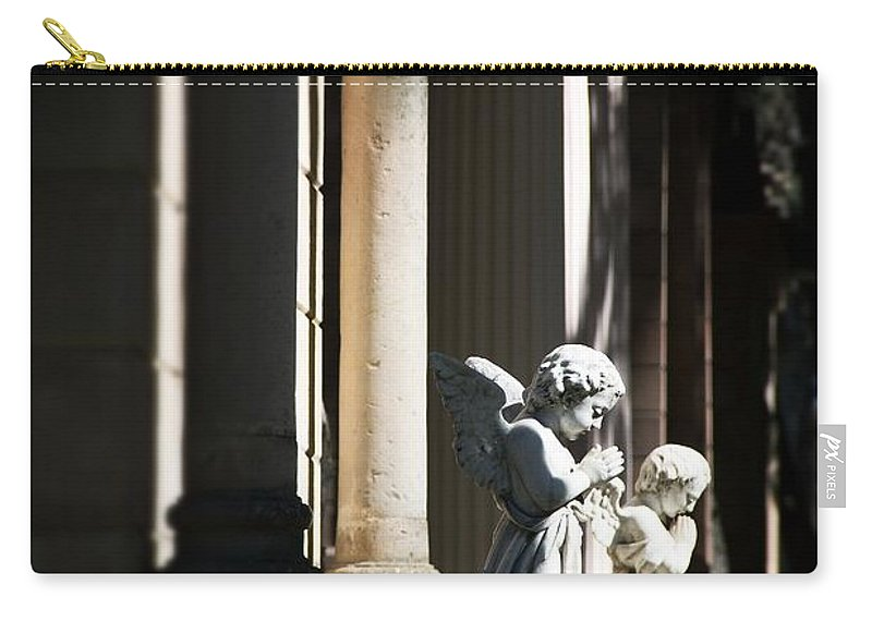 Praying Carry-all Pouch featuring the photograph Praying Angle - Sucre Cemetery Dramatic by For Ninety One Days