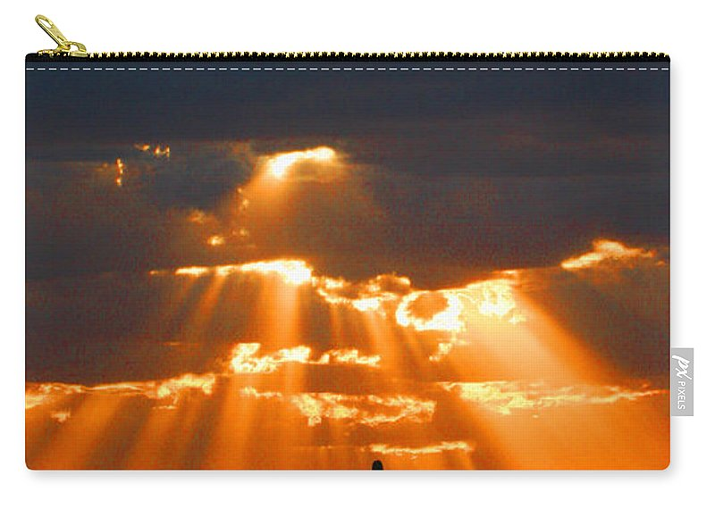 Pre Sunset Sky With Saguaro Carry-all Pouch featuring the photograph Pre Sunset Sky With Saguaro by Tom Janca