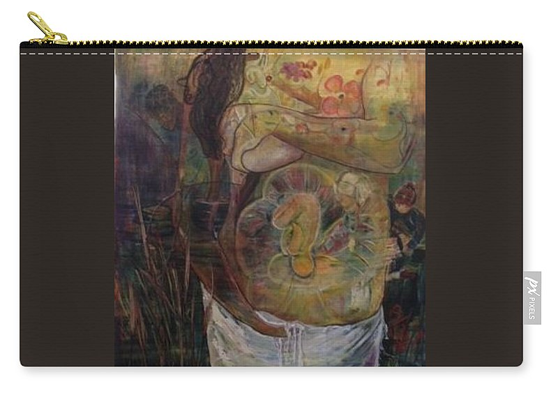 Women With Child Carry-all Pouch featuring the painting Precious by Peggy Blood
