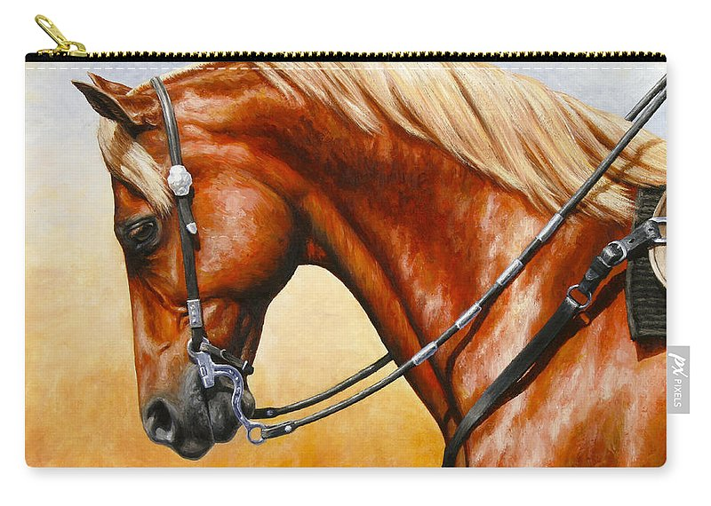 Horse Carry-all Pouch featuring the painting Precision - Horse Painting by Crista Forest
