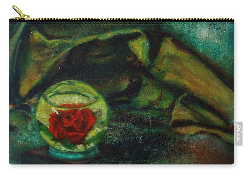 Still Life Carry-all Pouch featuring the painting Preserved Rose . . Draped Canvas by Sean Connolly