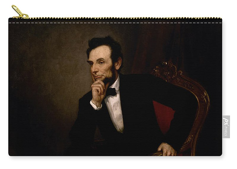 Abraham Lincoln Carry-all Pouch featuring the painting President Lincoln by War Is Hell Store
