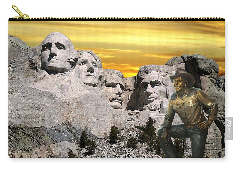 President Ronald Reagan Carry-all Pouch featuring the photograph President Reagan At Mount Rushmore by Thomas Woolworth