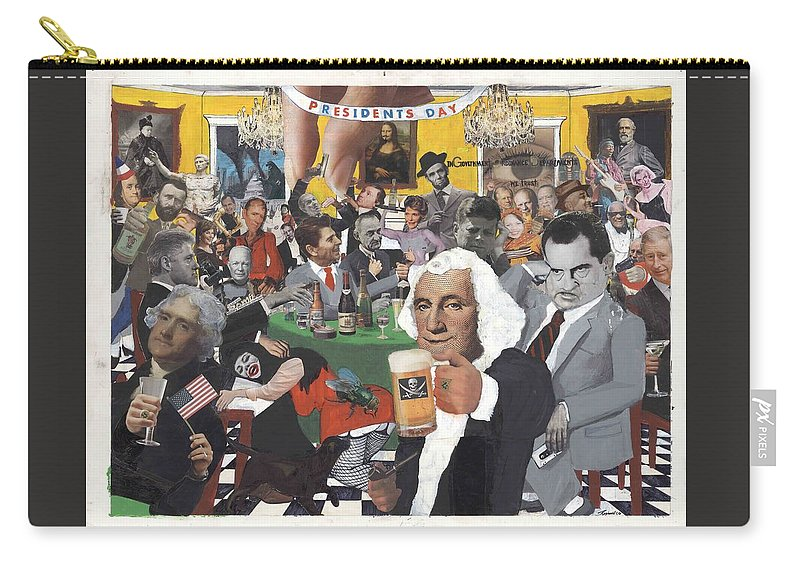 Satire Carry-all Pouch featuring the mixed media Presidents Day by Reginald Williams