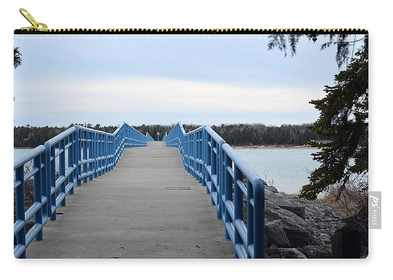 Presque Isle Carry-all Pouch featuring the photograph Presque Isle Pier by Linda Kerkau