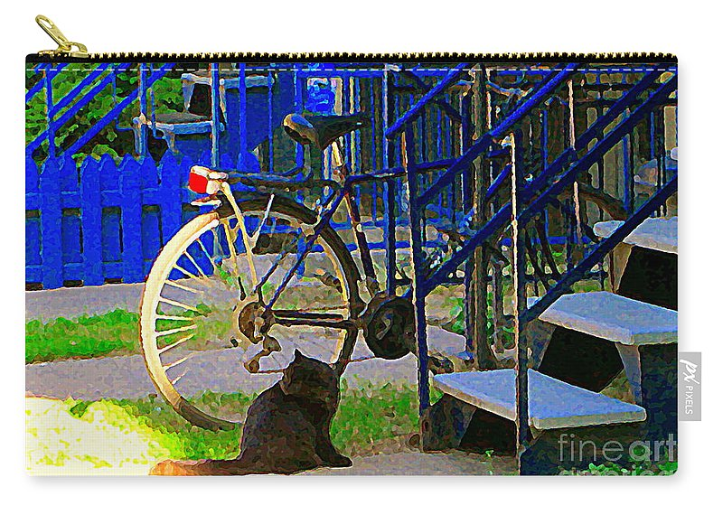 Montreal Carry-all Pouch featuring the painting Pretty Cat In Verdun Taking The Sun Blue Picket Fence And Bike Montreal Garden Scene Carole Spandau by Carole Spandau