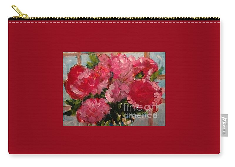 Floral Carry-all Pouch featuring the painting Pretty In Pink by Sherry Harradence