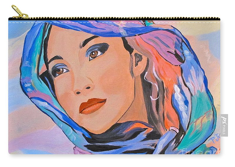 Beautiful Lady Carry-all Pouch featuring the painting Pretty Lady by Phyllis Kaltenbach