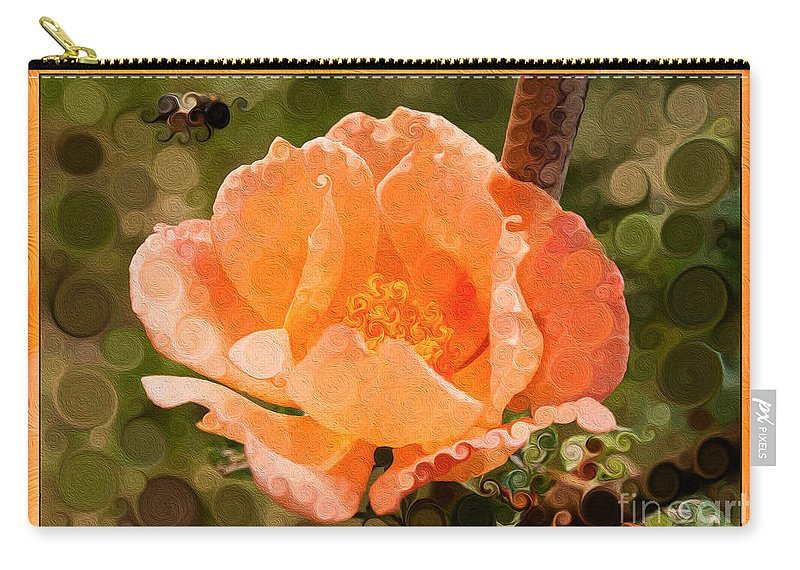 Pretty Peachy Rose Carry-all Pouch featuring the painting Pretty Peachy Rose Abstract Flower by Omaste Witkowski