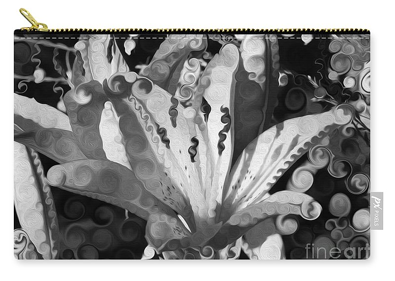 Pretty Pouting Pleasures A Black And White Painting Carry-all Pouch featuring the painting Pretty Pouting Pleasures A Black And White Painting by Omaste Witkowski