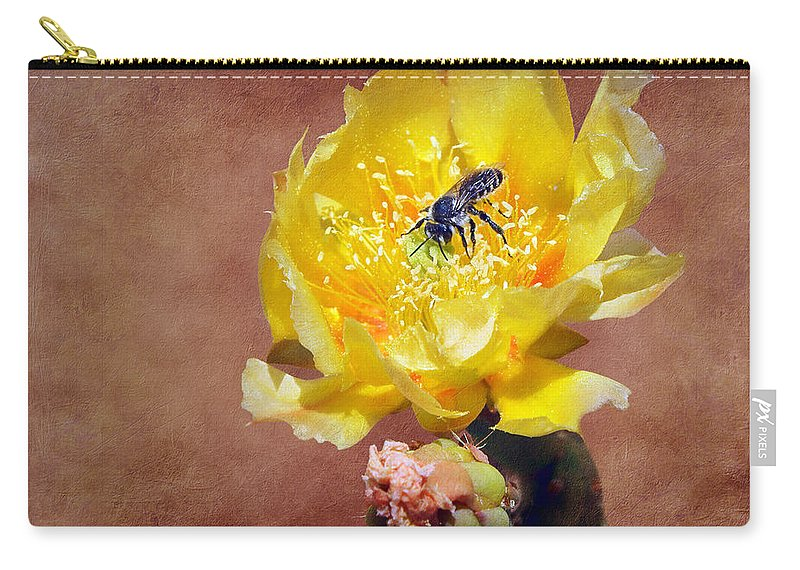 Prickly Pear Carry-all Pouch featuring the photograph Prickly Pear And Bee by Nikolyn McDonald